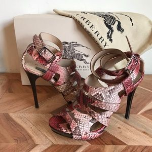 Burberry | Pink Python Leather Strappy Heels